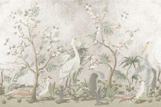 Kinoserie - Tsuru & roses