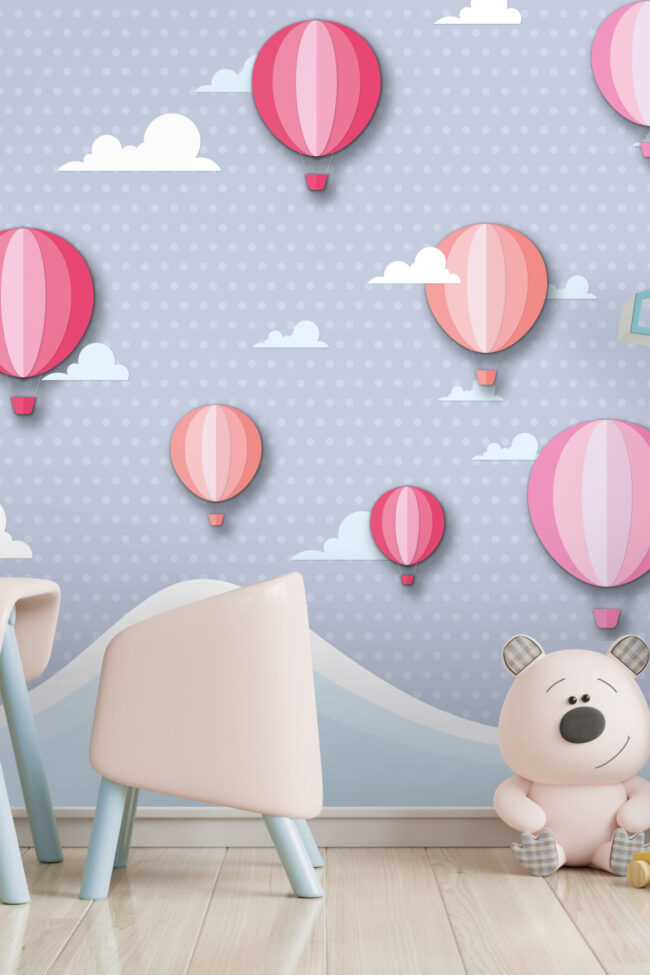 Mock up wall in the children's room with pink sofa in light white color wall background,3d rendering